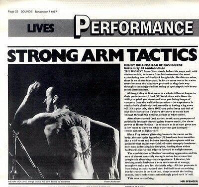 7/11/87pg32 Live Review & Picture, Henry Rollins/head Of David/gore - University