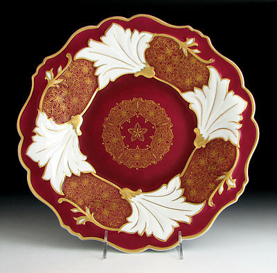 WEIMAR GERMAN PORCELAIN JUTTA Maroon Red & Gold CHARGER 12 5/8""