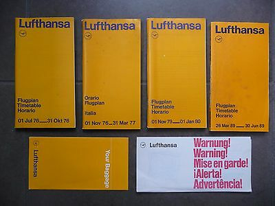 Lufthansa 4 Timetables 1976 - 1977 - 1980 - 1989 German Airlines