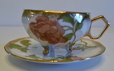 Shafford China Cup And Saucer Three Footed Rose Pattern Hand Decorated In Japan