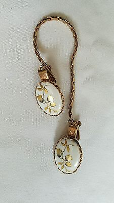 1958 Vintage Porcelain Hand Painted Gold Tone Sweater Guard Clips