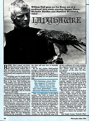 Rutger Hauer, Michelle Pfeiffer Ladyhawke Article & Pictures