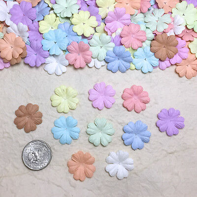 50 Mixed Pastel Heart Flower Scrapbook Crafts Mulberry Paper Cards Wedding 26mm