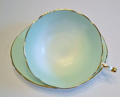Paragon China Cup And Saucer, Green With Gold Trim - Made In England