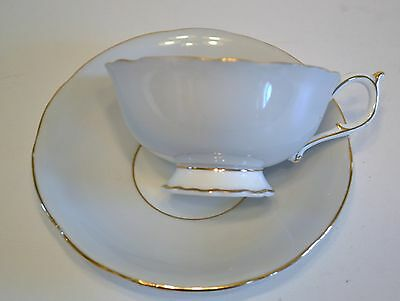 Paragon China Cup And Saucer, Grey With Gold Trim - Made In England