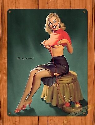 "TIN-UPS TIN SIGN ""Unraveling"" PIN-UP SEXY Vintage Wall Decor"