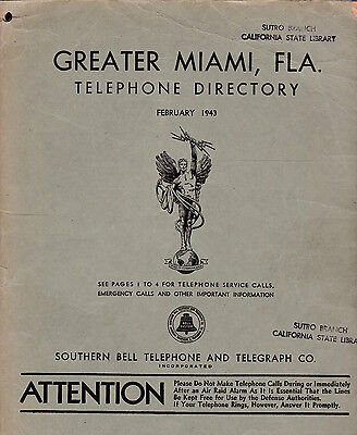1943 Greater Miami Florida Telephone Directory White & Yellow Pages