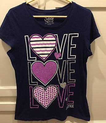 Girls JUSTICE Size 18 Navy Love Shirt Top