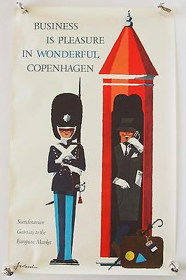 Vintage Antoni Business is Pleasure in Wonderful Copenhagen Denmark Poster