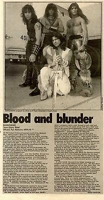 6/8/83pg32 Album Review & B/w Picture, Manowar, Into Glory Ride