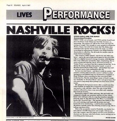 4/4/87pg32 Live Review & Picture, Steve Earle & The Dukes - Amstredam Paradiso