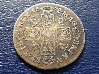 Charles 11 Silver Sixpence 1678 / 7 Overdate Great Britain Uk