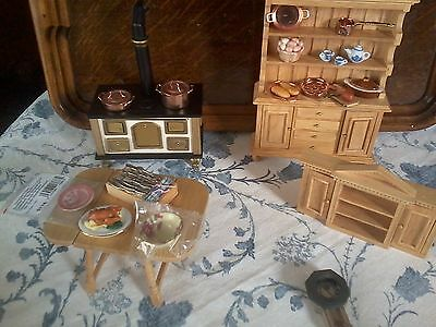 Dolls House 12th scale Kitchen Dresser, Stove, Table cupboard lots of food etc