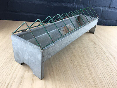 Vintage Galvanised Feed Trough Animal Bird Duck Chicken Feeder Planter With Bars