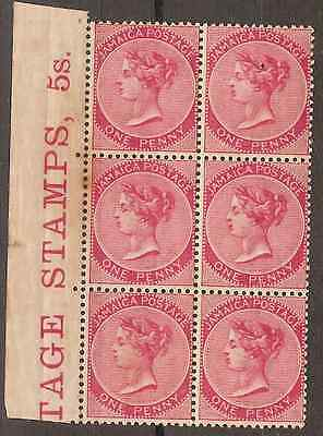 Jamaica 1885 1d rose Unmounted MINT Block of 6 stamps SG 18