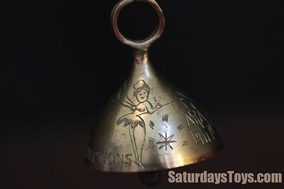 1955 Early Disneyland Etched Brass Bell w/ Tinker Bell & Sleeping Beauty Castle
