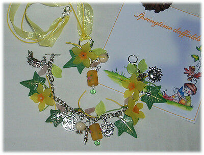 daffodil bracelet handmade jewellery and beads necklace cluster