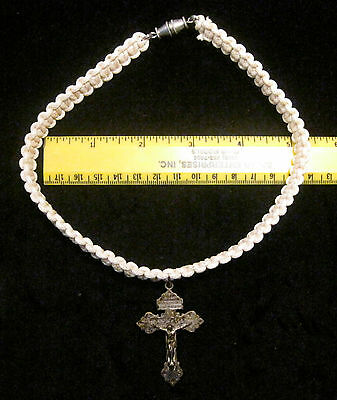Original GI Made White Paracord Crucifix Necklace, Handmade by a GI in Iraq