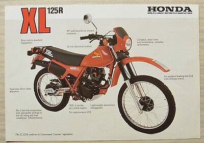 HONDA XL125R-C MOTORCYCLE Sales Specification Leaflet c1984 #PB 84 009 A