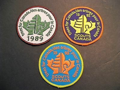 """Boy Scouts Canada  3 """"trees For Canada"""" 1989 1992 1993 Patch Badge 3"""""""