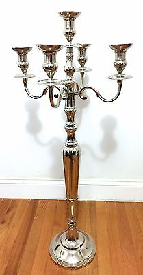 Tall Silver Candelabra Wedding Centerpieces Taper Candle Holder 5 Arm