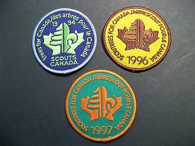 """Boy Scouts Canada  3 """"trees For Canada"""" 1994 1996 1997 Patch Badge 3"""""""