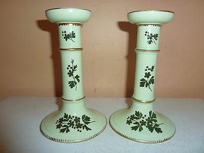 Pair Of T.a. & S.green Staffordshire 15.7Cm High Green Candlesticks With Flowers
