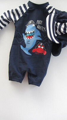 Baby Boys Sunsuit Swim Suit & Hat Set 3-6 Months