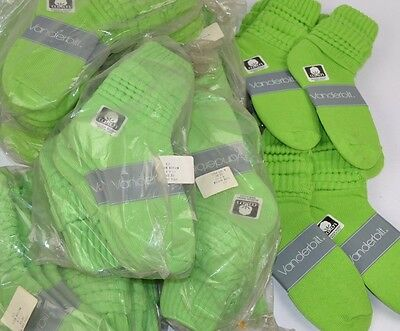 VINTAGE New Lot of 66 Pairs Cotton SLOUCH Baggy Socks Lime Green - 1980's