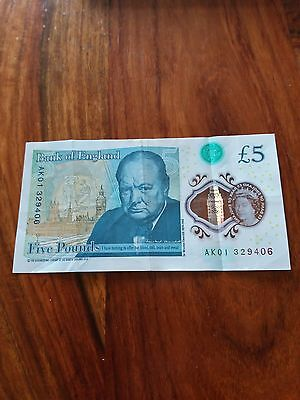 Rare valuable £5 not AK01 low serial number low price Very desirable