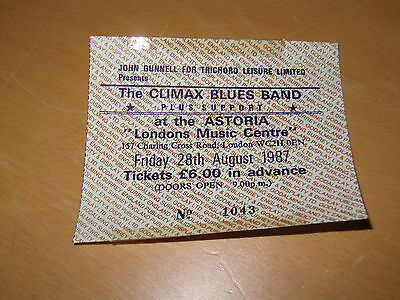 The Climax Blues Band - 28th August 1987 - UK Tour Astoria Ticket
