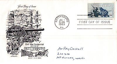 United States Gettysburg First Day Cover 1963