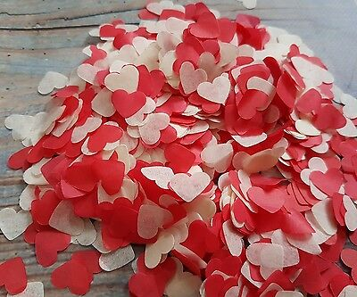 2 Handfuls Red And Ivory Hearts Confetti Wedding/throwing/eco