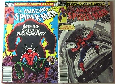 The Amazing Spider-Man #229 & 230 (1982, Marvel) Juggermaut, Fine and VF/NM