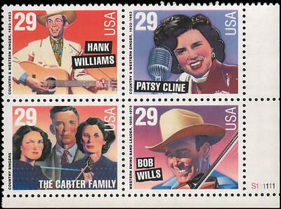 US #2771-2774 MNH plate block of 4, 29c Country and Western music