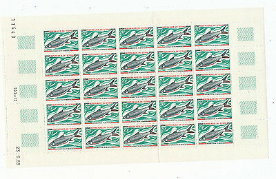 CHAD - SCOTT #218-221 FISH SET, FULL SHEETS OF 25! Mint, NH