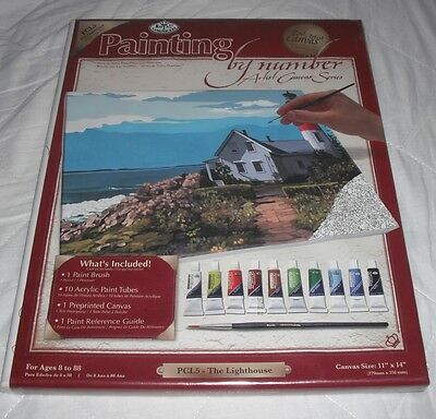 Painting By Numbers Set` By Royal & Langnickel, New, Lighthouse & Seafront Scene