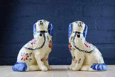 Pair Lovely Hand Painted Siltone Staffordshire Pottery King Charles Spaniel Dogs
