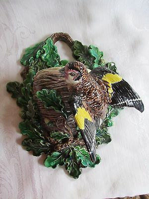 Antique Hugo Lonitz Majolica Wall Pocket Bird Acorns Birds Nest AS IS