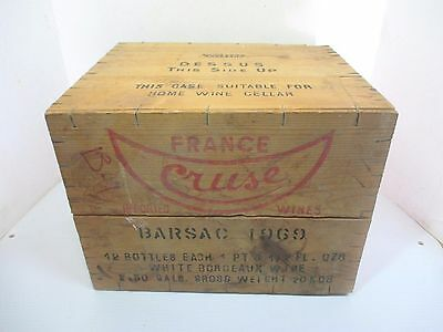 Vintage Cruse Wooden Wine Shipping Crate Imported France 1969 Bordeaux - Empty