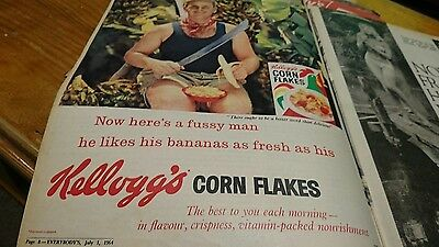 Original old advert 1964 Kelloggs Corn Flakes Cereal 1960s