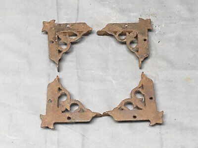 4 Vtg Cast Iron Victorian Screen Door Corner Brackets Support Hardware 389-17E