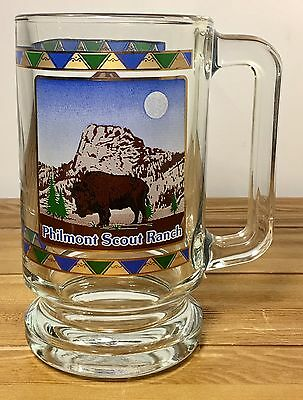 Philmont Boy Scout Ranch Beer Glass Mug New Mexico Gold Arrowhead Bison Bull