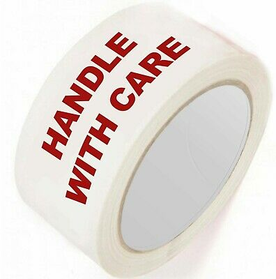 6 Rolls Fragile Handle With Care Printed Tape 50Mm X 66M Parcel Packing Strong