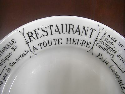 "Pillivuyt France ""RESTAURANT A TOUTE HEURE"" plate GRAND BRASSERIE NATIONALE"