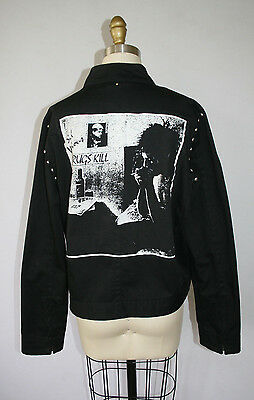 British PUNK Jacket Coat Sid Vicious Sex Pistols Black Studded Goth M Drugs Kill