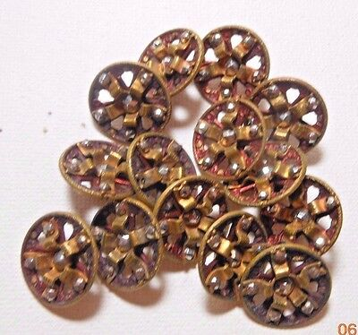 Lot of 14 VINTAGE Buttons BRONZE with RHINESTONES Extremely PRETTY & FANCY Small