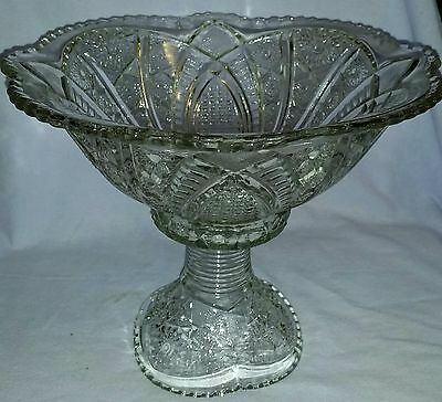 Pristine Antique Mckee Glass Eapg Punch Bowl & Matching Base/ Stand