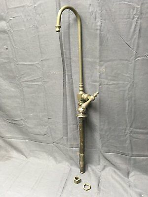 Antique Nickel Brass Industrial Gooseneck Old Vtg L. Wolff Faucet 396-17E