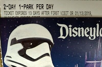 Disneyland Ticket - 2 days 1 park per day (two days one park) use any time!